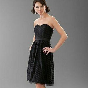{WHBM} Tulle Semi Sheer Polka Dot Strapless Dress